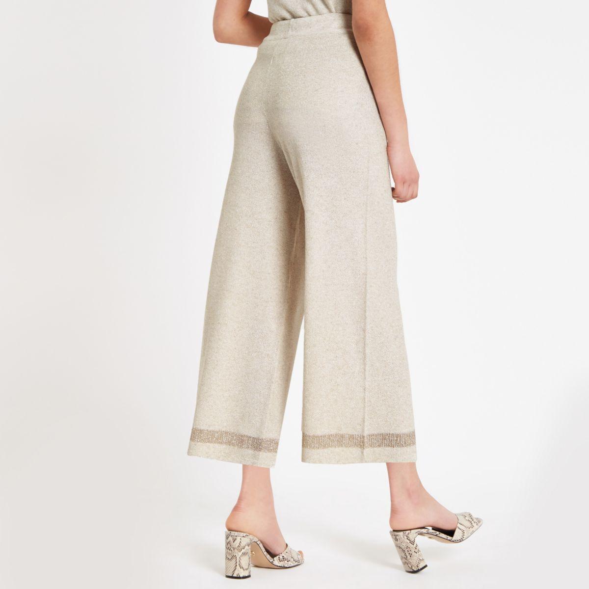 Beige glitter wide leg culottes