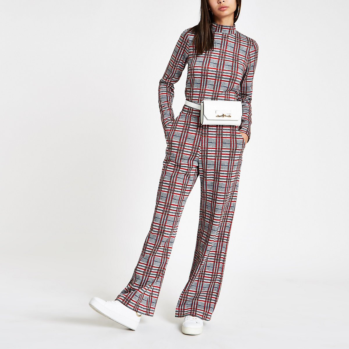 Red check wide leg trousers
