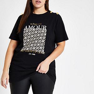 RI Plus - Zwart T-shirt met 'Amour'-print en knopen aan de mouwen
