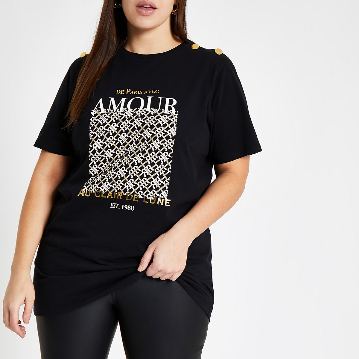 Plus black 'Amour' button sleeve T-shirt