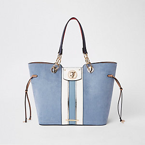 Blue faux suede jaguar tote bag