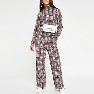 RI Petite - Rood geruite broek met wijde pijpen