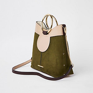 Khaki circle handle bucket bag