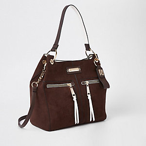 Brown zip front slouch bag