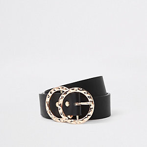 Black textured double ring belt