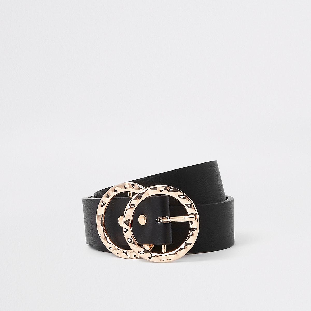 Black textured double ring belt