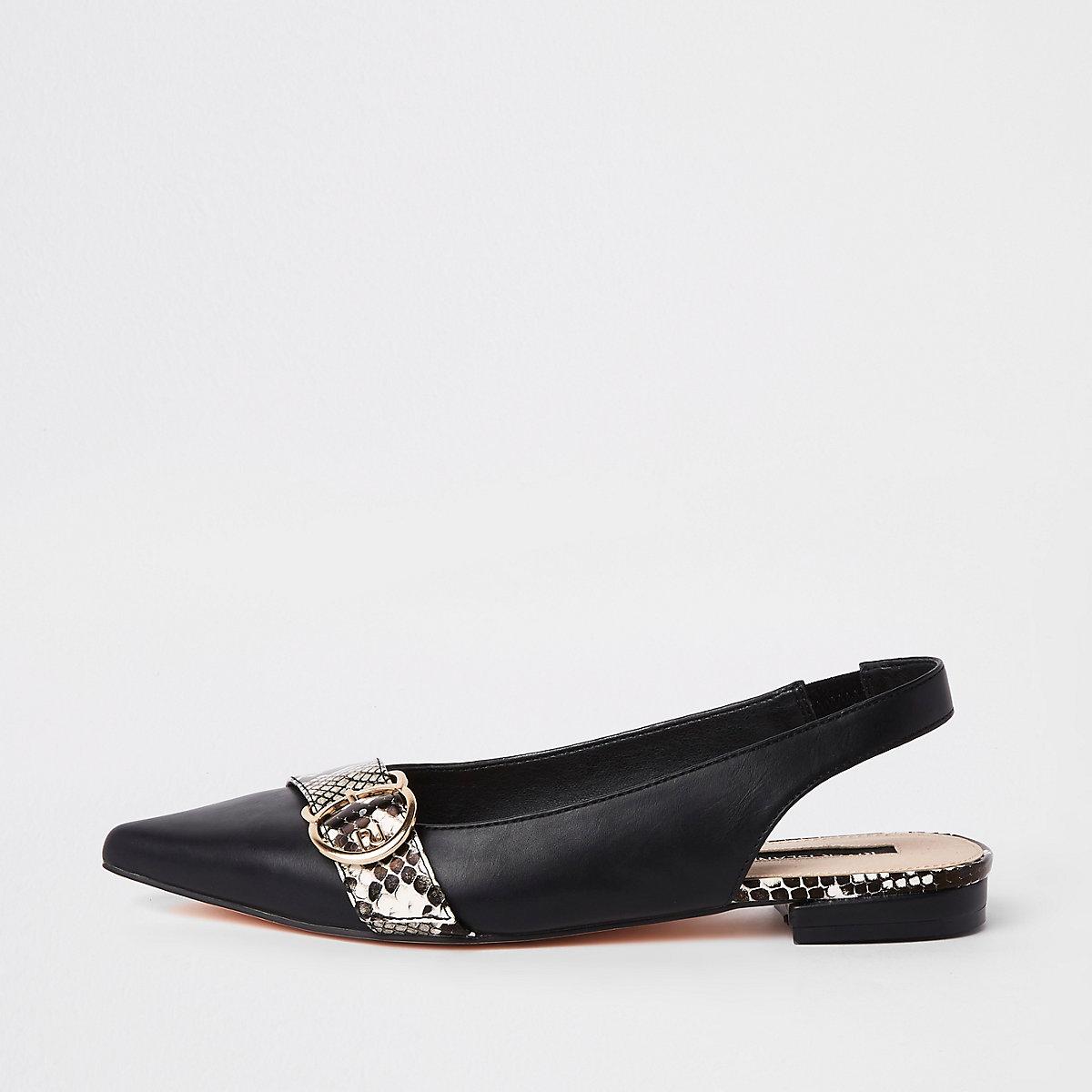 Black pointed toe sling back loafers