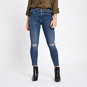 Petite blue Molly ripped jeggings