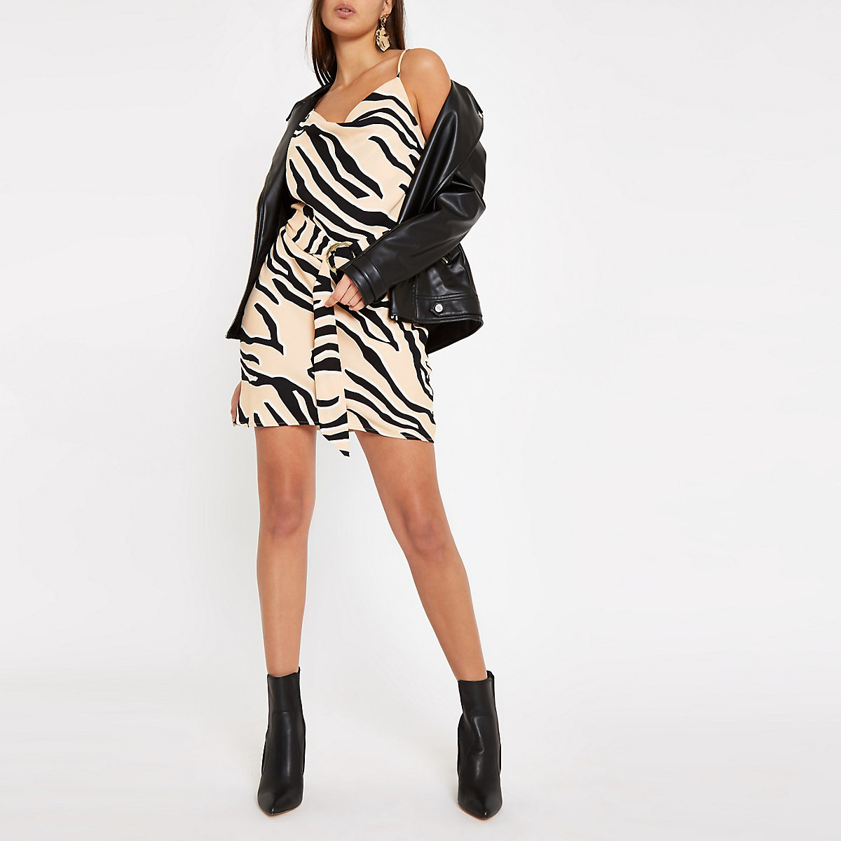 Brown zebra print slip dress