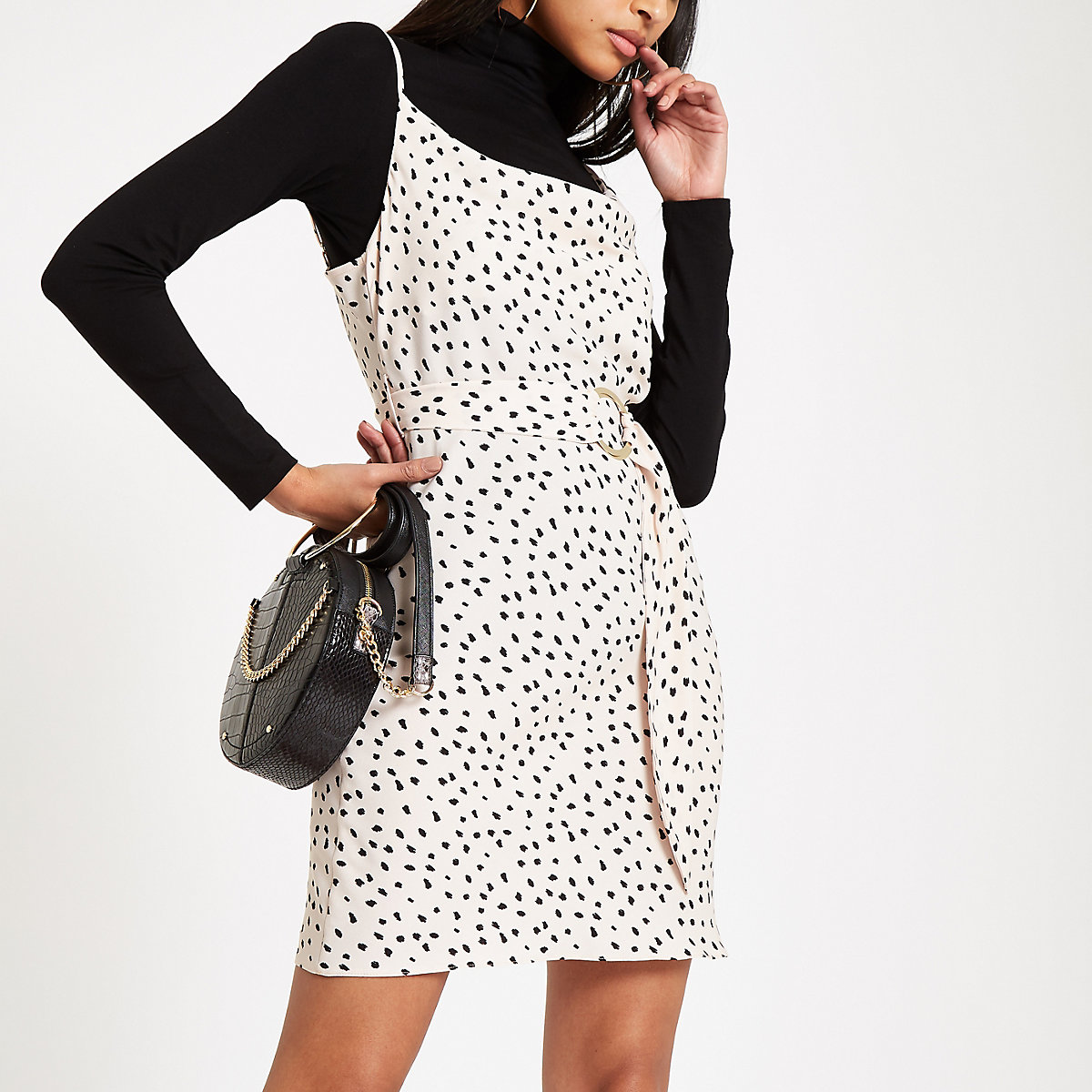 White spot print cowl neck mini dress