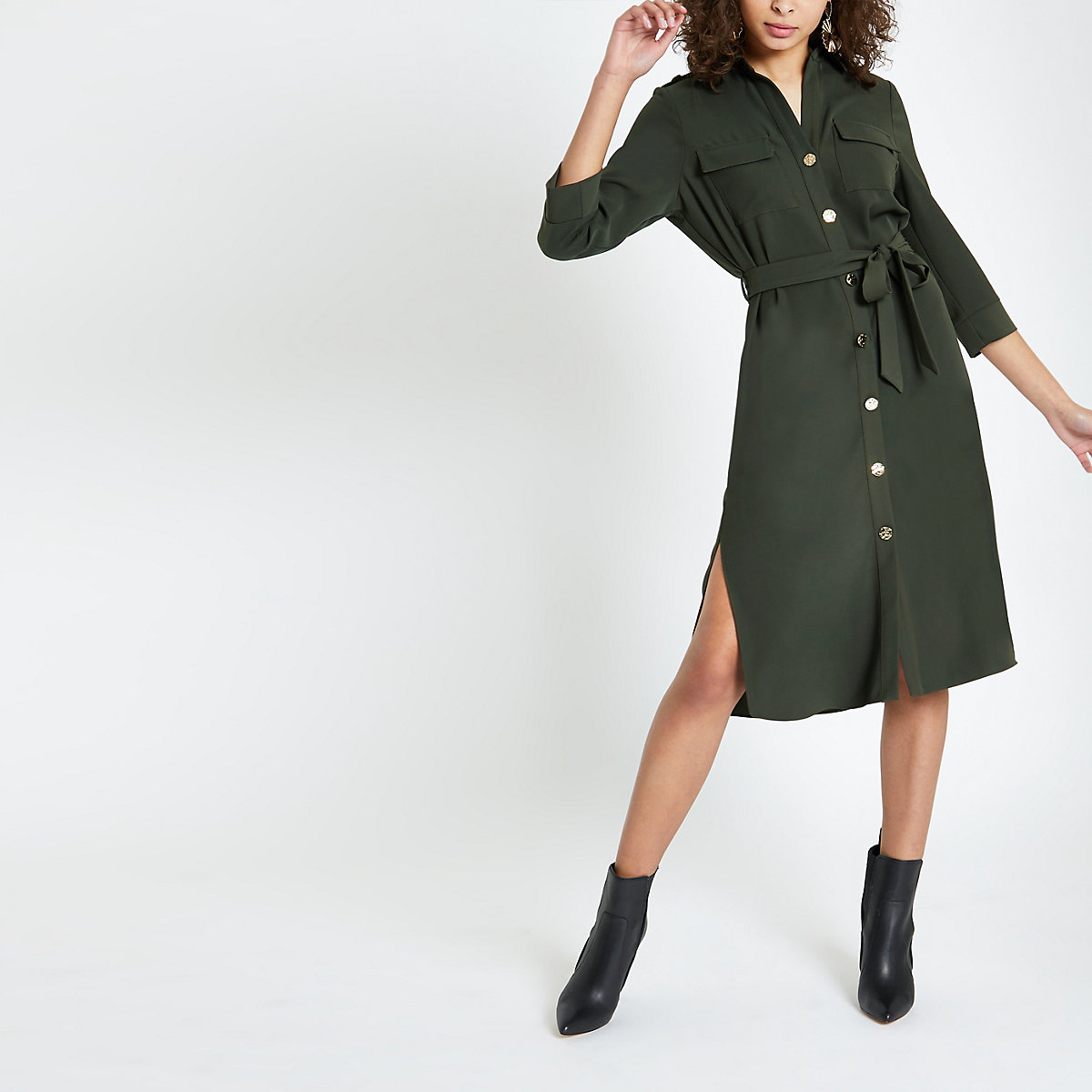 Khaki tie waist shirt dress