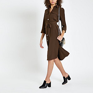 Brown tie waist shirt dress