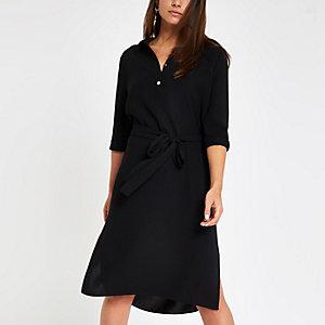 Petite – Robe chemise noire à ceinture