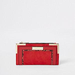 Rode uitvouwbare portemonnee met slangenprint in reliëf