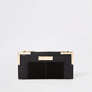 Zwarte uitvouwbare portemonnee met metalen hoeken