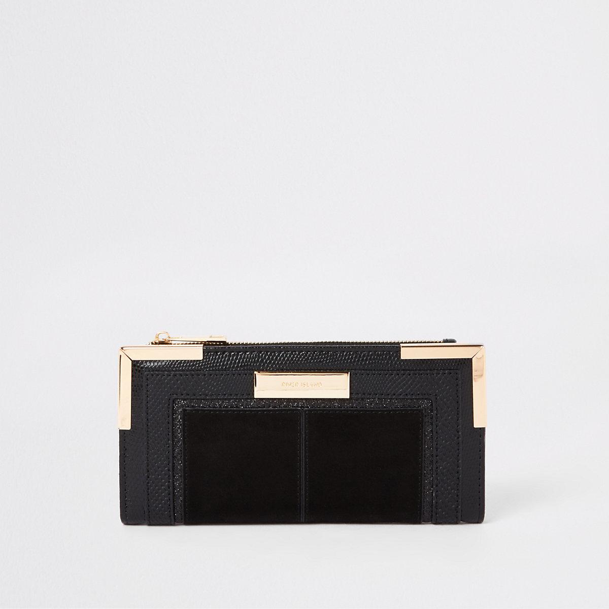 Black foldout metal corner purse
