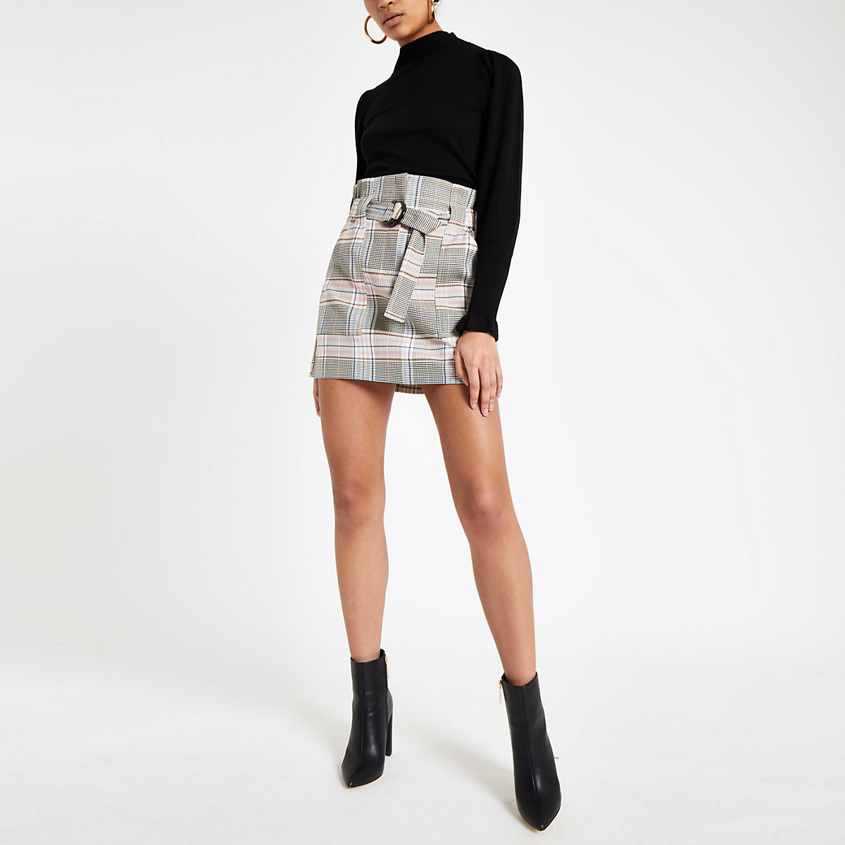Pink check paperbag mini skirt