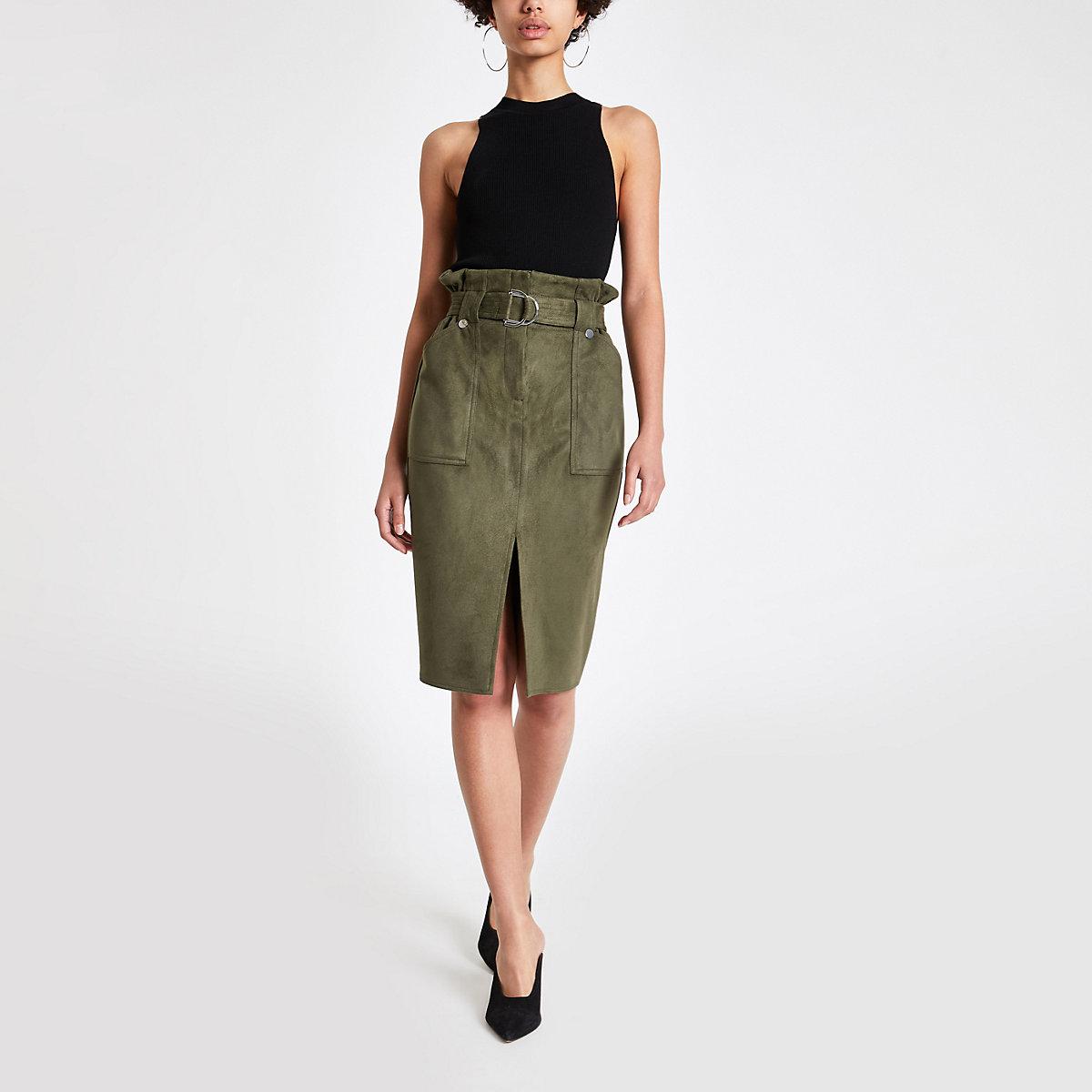 Khaki faux suede paperbag pencil skirt