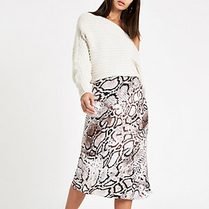 Grey snake print satin midi skirt