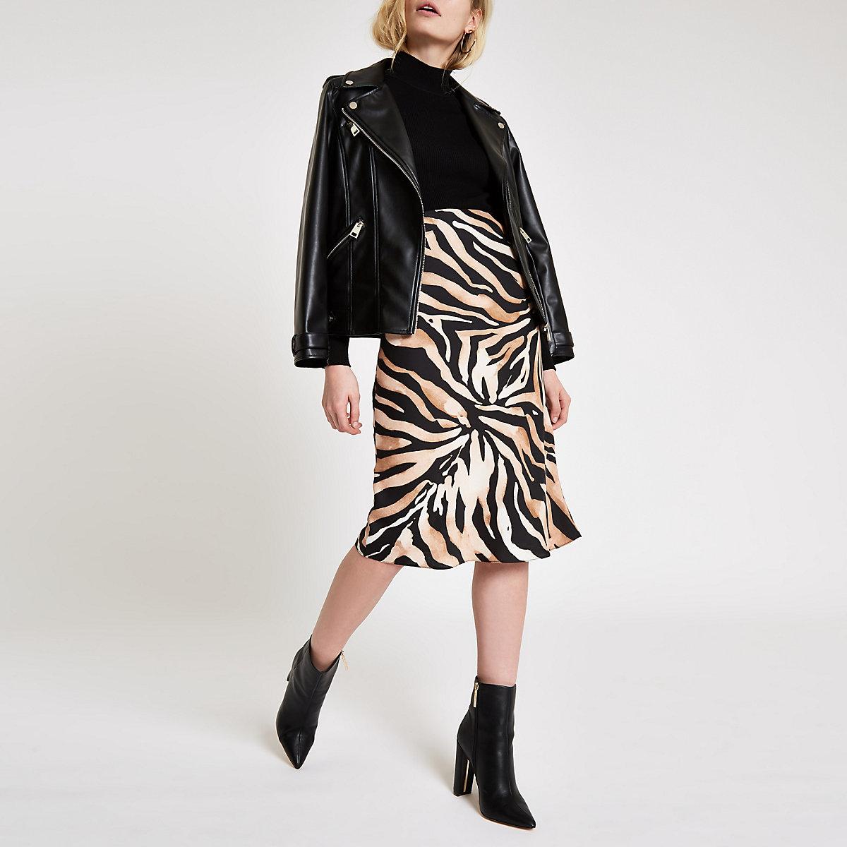Brown tiger print satin midi skirt