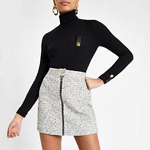 White boucle biker mini skirt