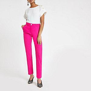 Roze smaltoelopende broek