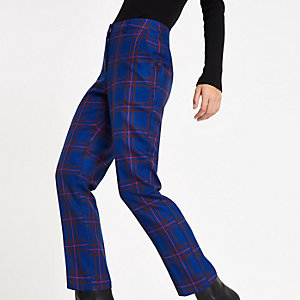 Dark blue plaid check cigarette pants