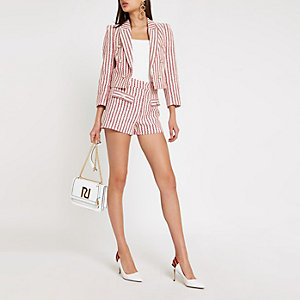 Red stripe crop blazer