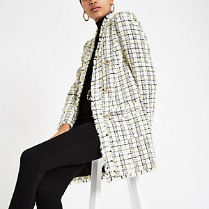 Yellow check longline boucle jacket