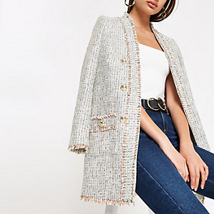 Cream check boucle long blazer