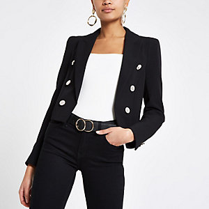 Black button front cropped blazer