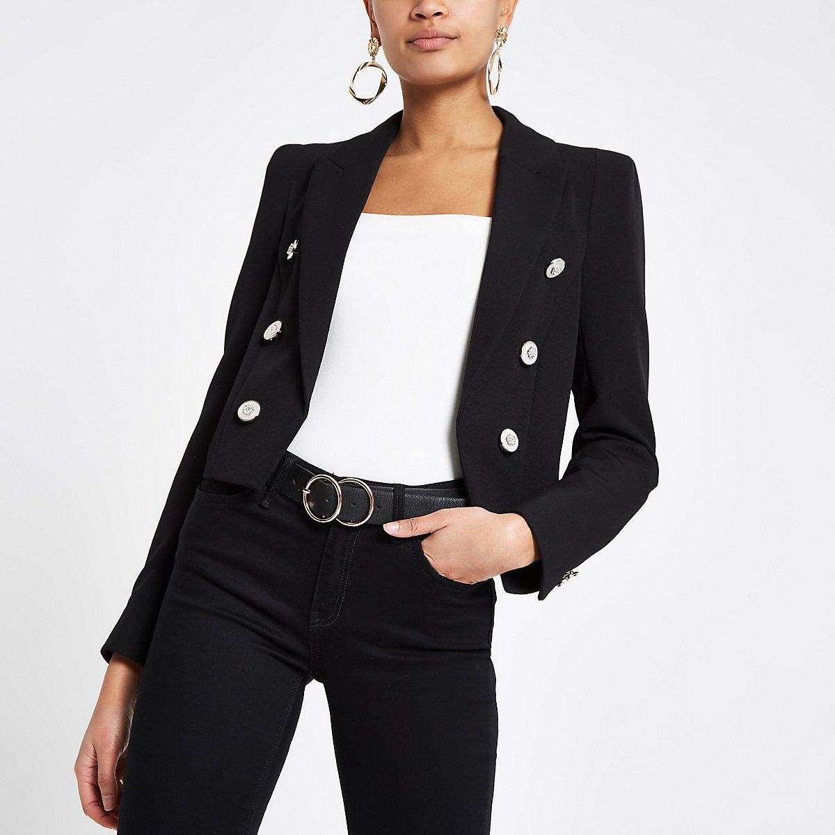 Zwarte cropped blazer met knopen voor