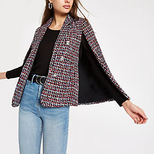 Dark red boucle cape sleeve jacket