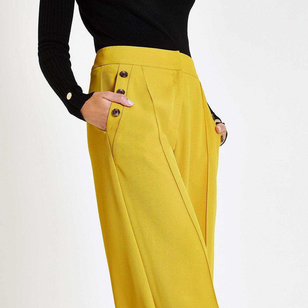 Yellow button pocket wide leg pants
