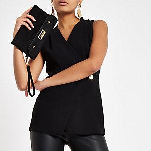 Black wrap front button tux top