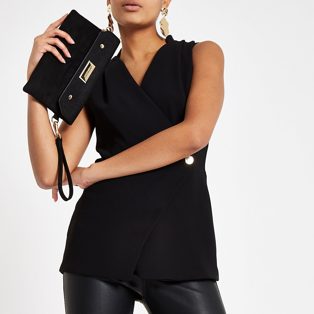 Black wrap front button tux top