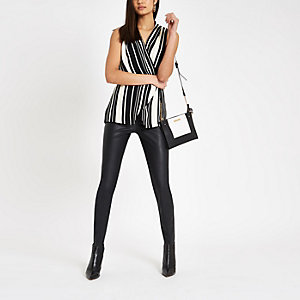 Black stripe wrap over sleeveless top