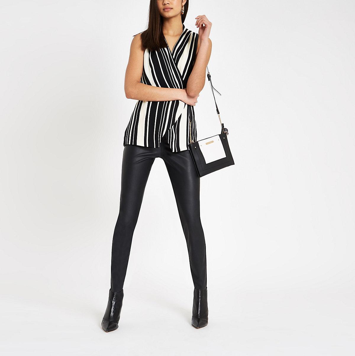 Black stripe wrap over sleeveless top