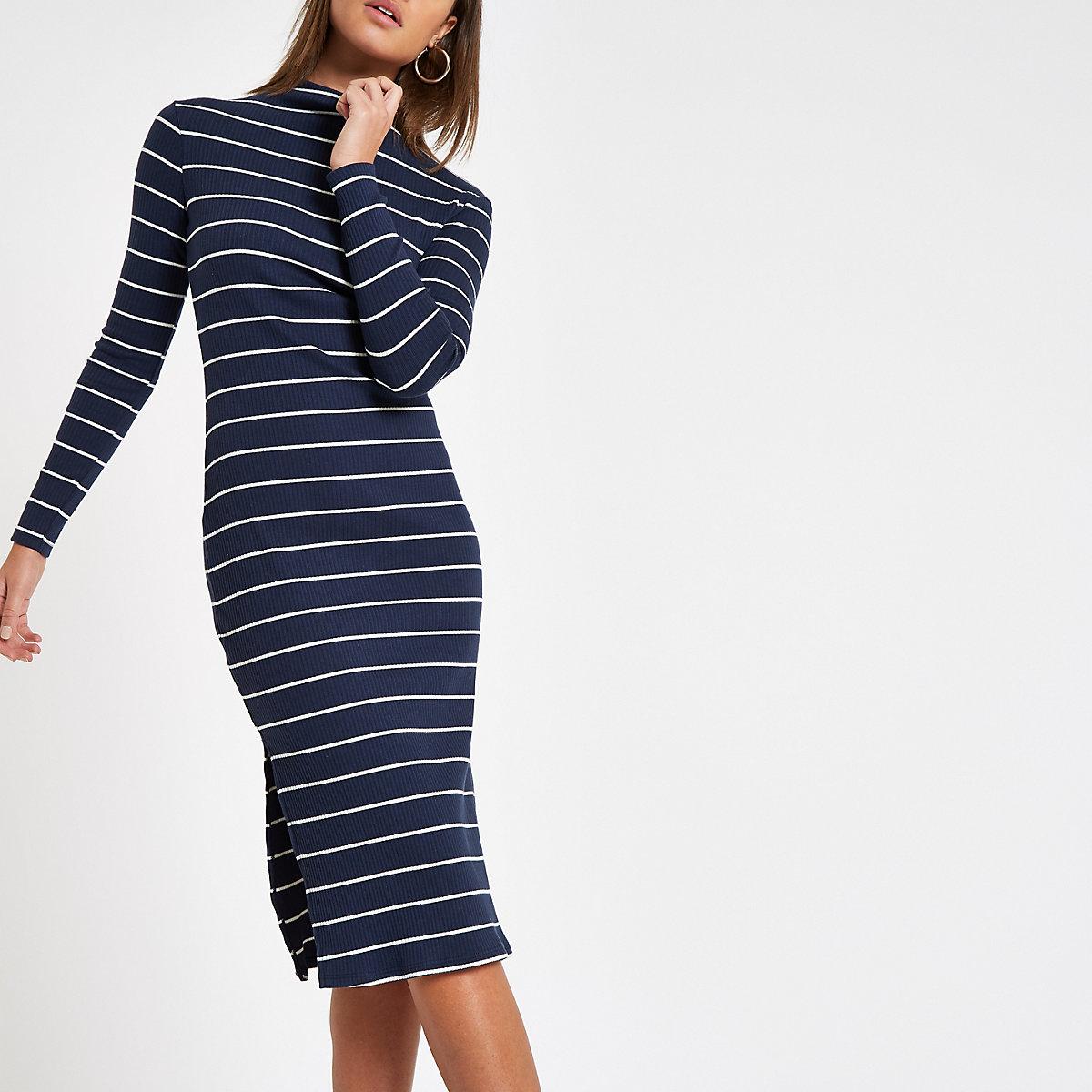 Navy stripe high neck bodycon dress