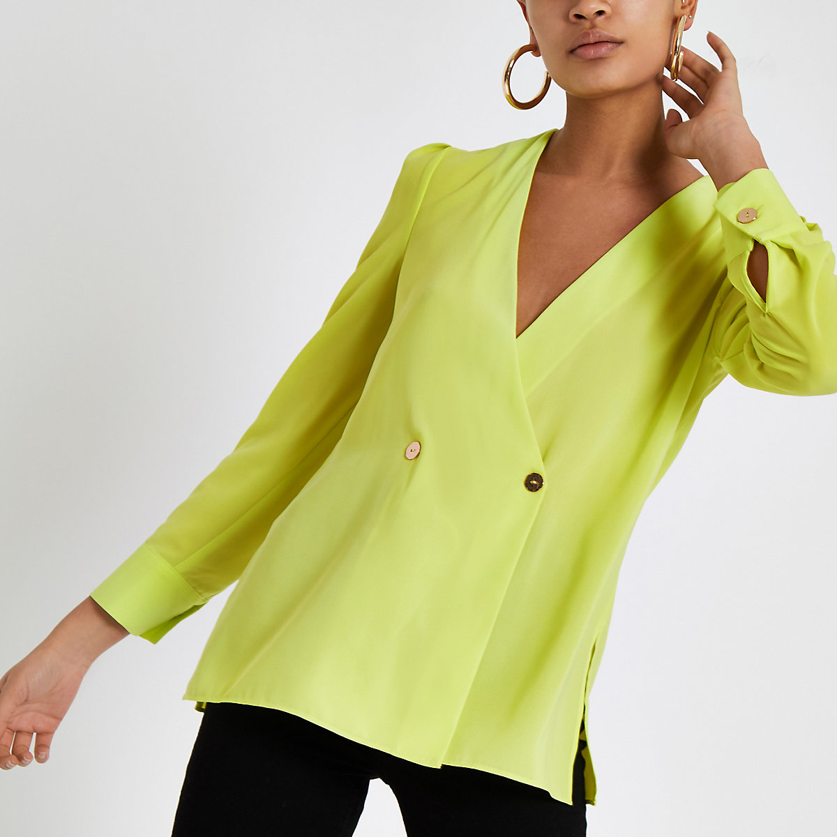 Bright green button detail blouse