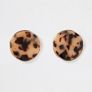 Clous d'oreilles oversize motif écaille de tortue marron