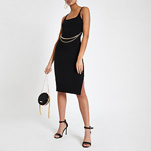 Black chain belt bodycon midi dress