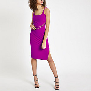 Purple chain belt bodycon midi dress