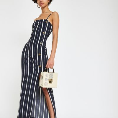 Navy Stripe Textured Midi Dress by River Island