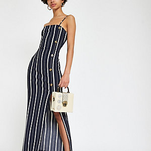 Navy stripe textured midi dress