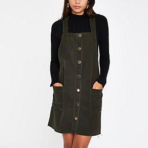 Khaki cord dungaree dress