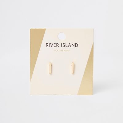 Gold Colour Bar Stud Earrings by River Island