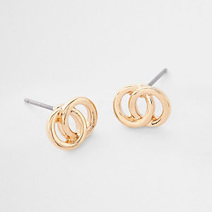 Gold plated double mini circle stud earrings