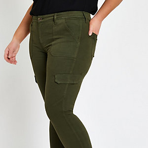 Plus – Amelie – Utility Jeans in Khaki