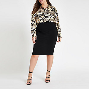Plus black ponte pencil skirt